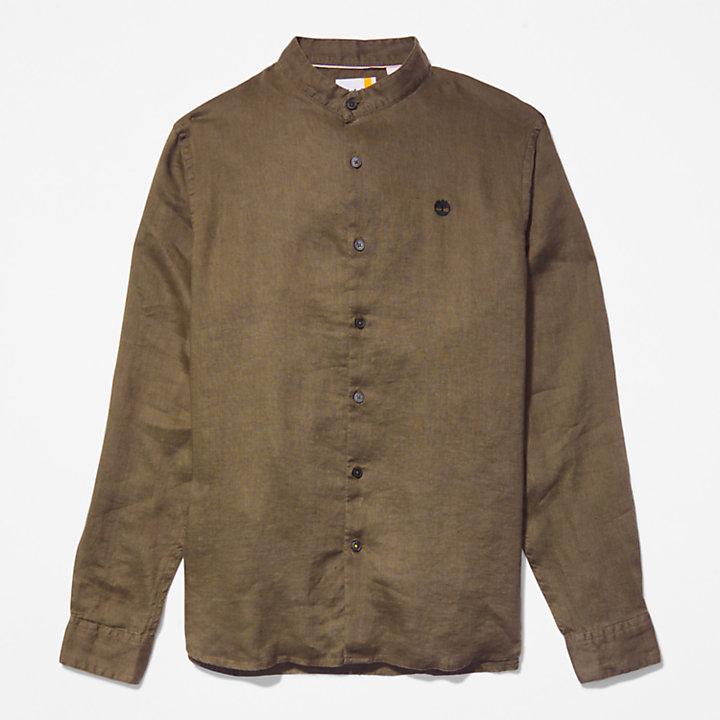 Camicia da Uomo in Lino Mill River in verde scuro-