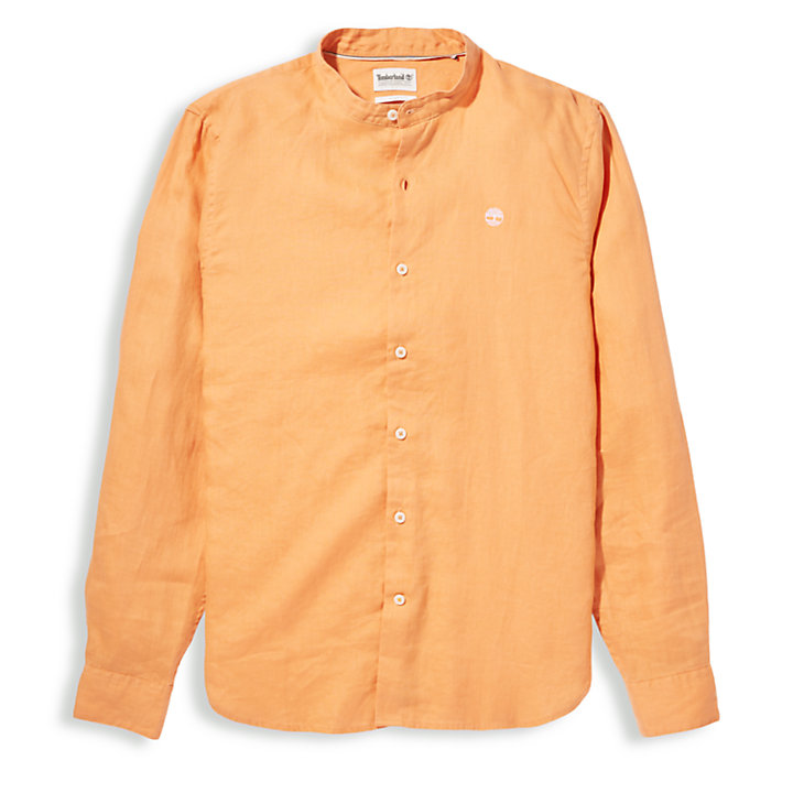 Mill River Linen Shirt for Men in Orange-