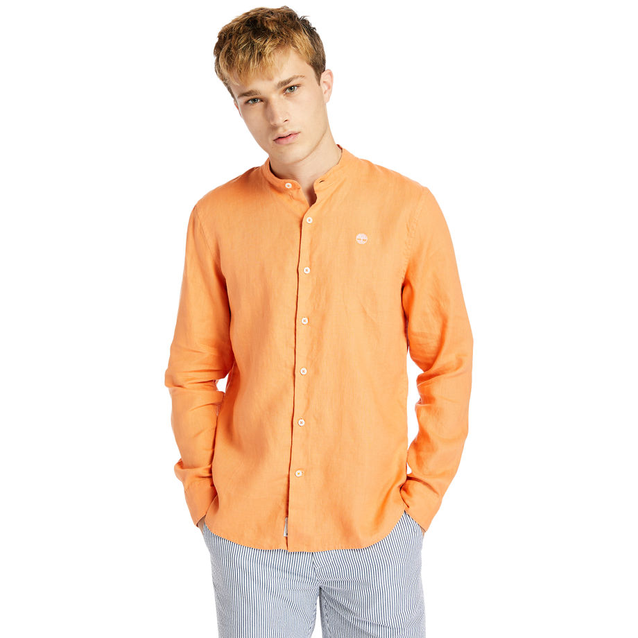Timberland Mill River Linen Shirt For Men In Orange Orange, Size 3XL