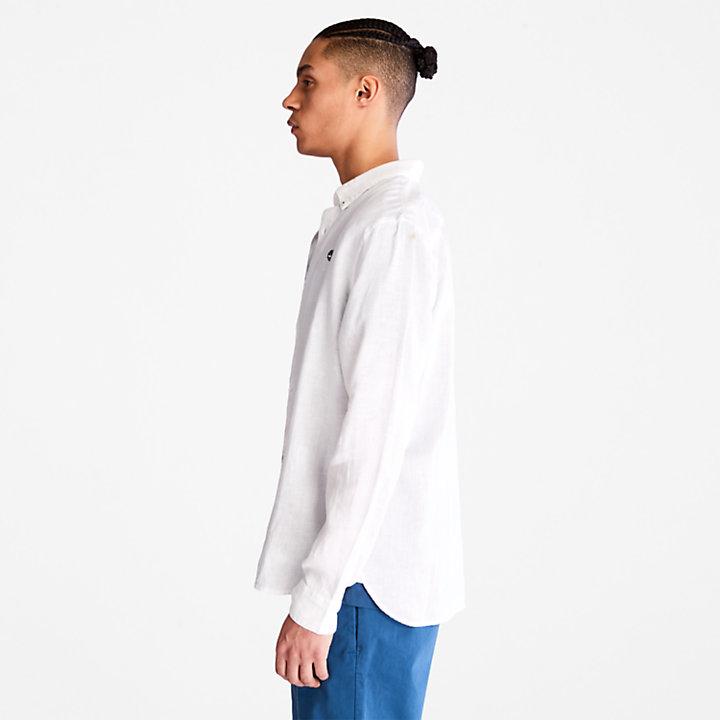 Camisa de Lino de Manga Larga Mill River para Hombre en blanco-