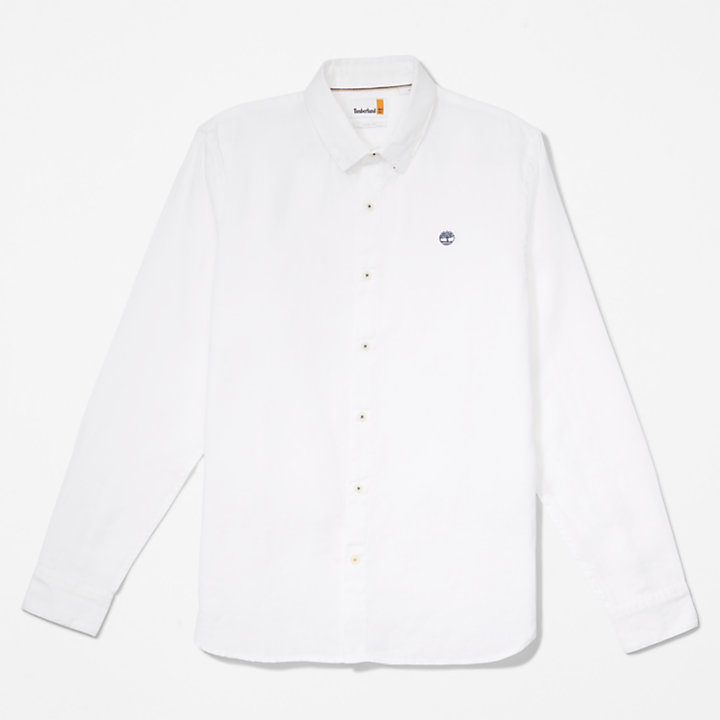 Mill River LS Linen Shirt for Men in White-