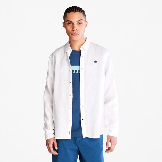 Mill River LS Linen Shirt for Men in White | Timberland