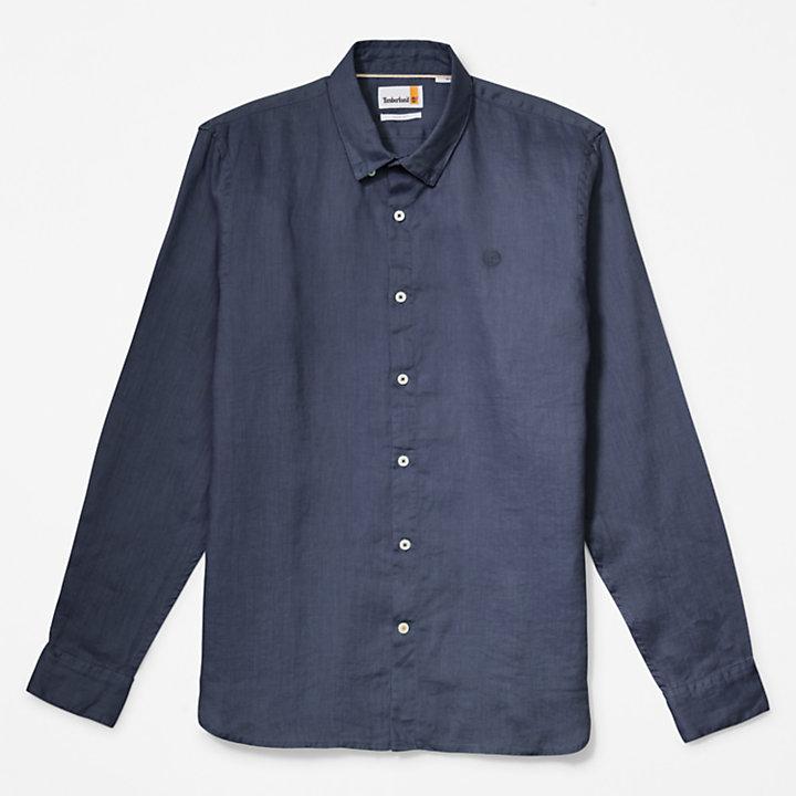 Chemise à manches longues en lin Mill River pour homme en bleu marine-