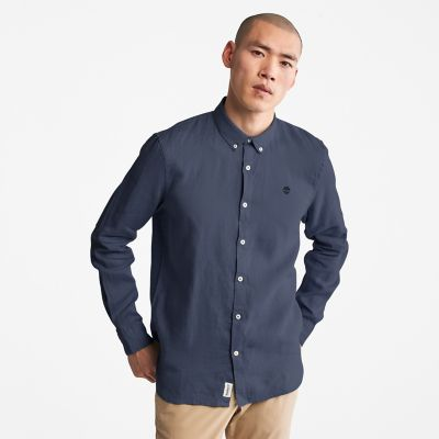 Mill+River+LS+Linen+Shirt+for+Men+in+Navy