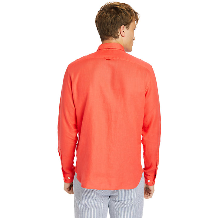Camisa de Lino de Manga Larga Mill River para Hombre en rojo-