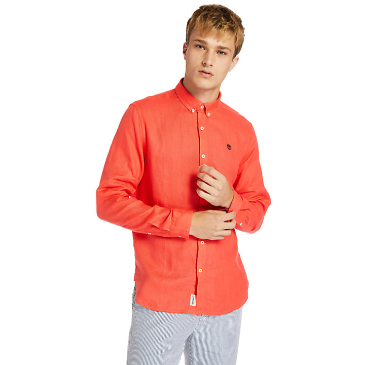 Mill River LS Linen Shirt for Men in Red-