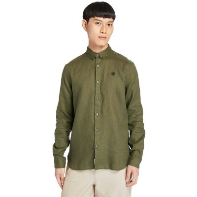Mill+River+LS+Linen+Shirt+for+Men+in+Green