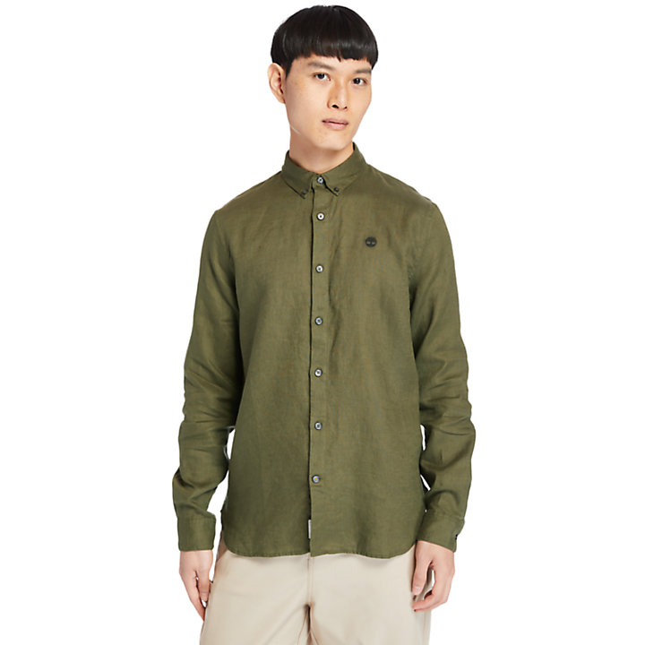 Mill River LS Linen Shirt for Men in Green-