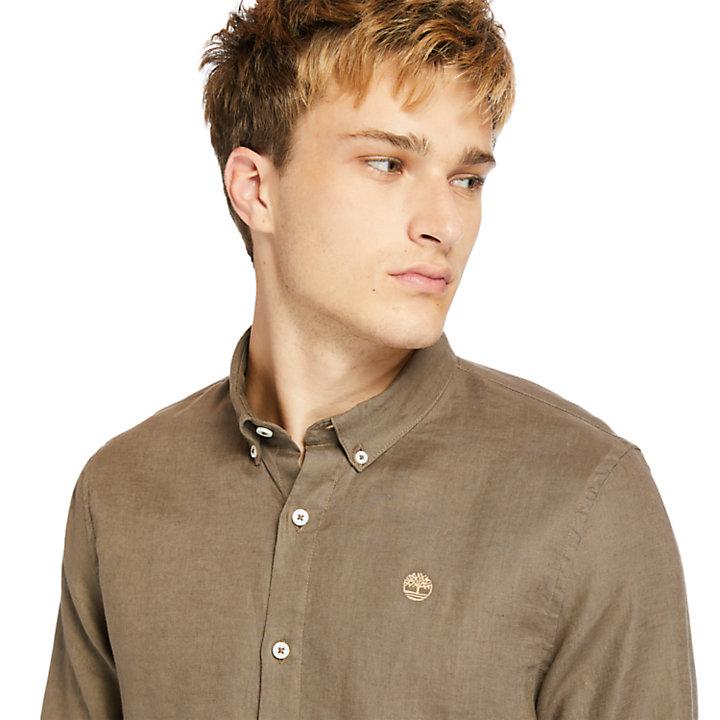 Camisa de Lino de Manga Larga Mill River para Hombre en marrón-