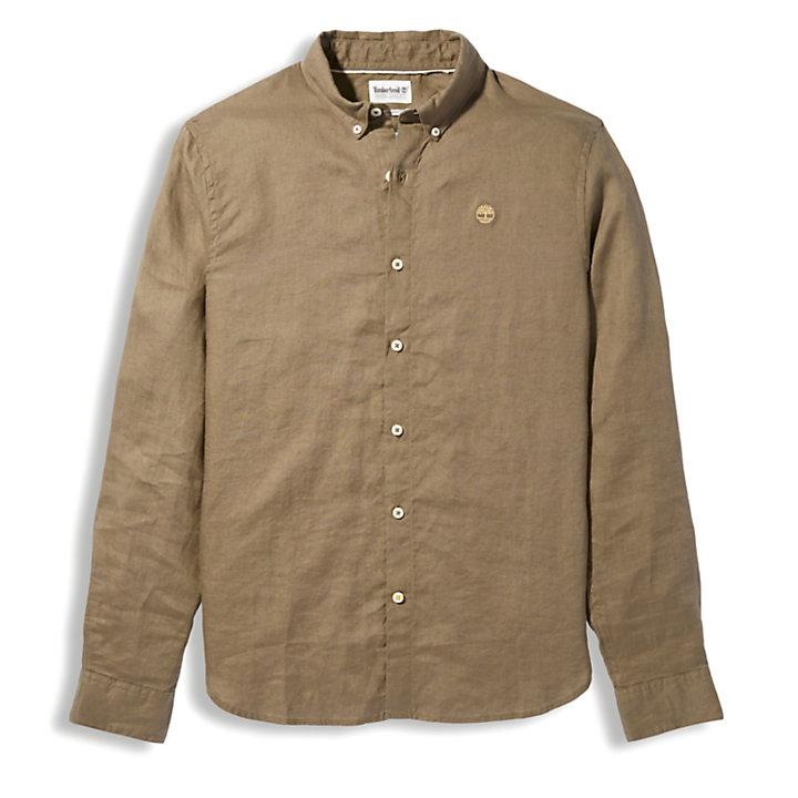Mill River Langarm-Leinenhemd für Herren in Braun-