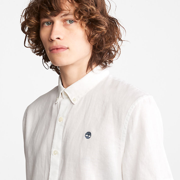 Mill River Short-sleeve Linen Shirt for Men in White-