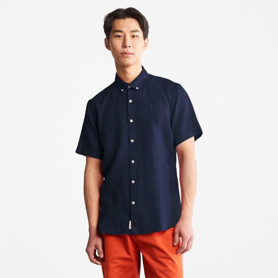 Timberland Mill River Short-sleeve Linen Shirt For Men In Navy Navy, Size XXL