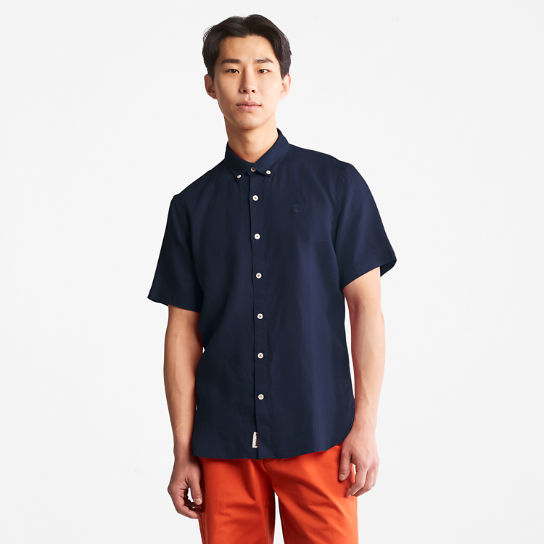 Mill River Short-sleeve Linen Shirt for Men in Navy | Timberland
