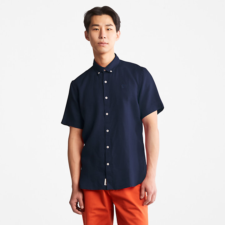Mill River Short-sleeve Linen Shirt for Men in Navy-