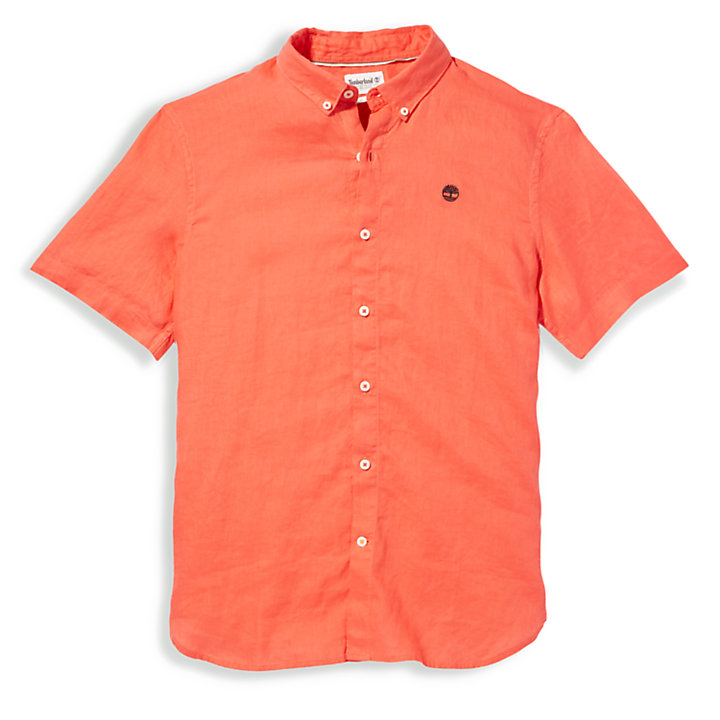 Mill River Short-sleeve Linen Shirt for Men in Red-