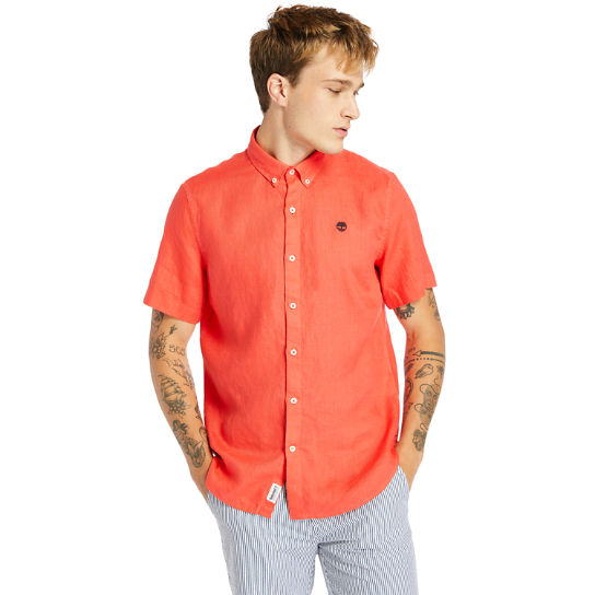 Mill River Short-sleeve Linen Shirt for Men in Red | Timberland
