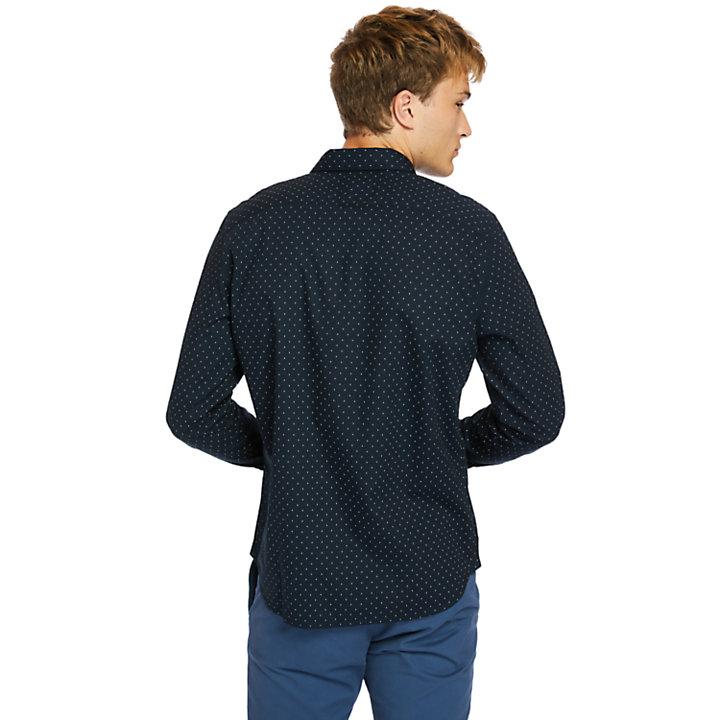 Chemise en popeline imprimée Eastham River pour homme en bleu marine-