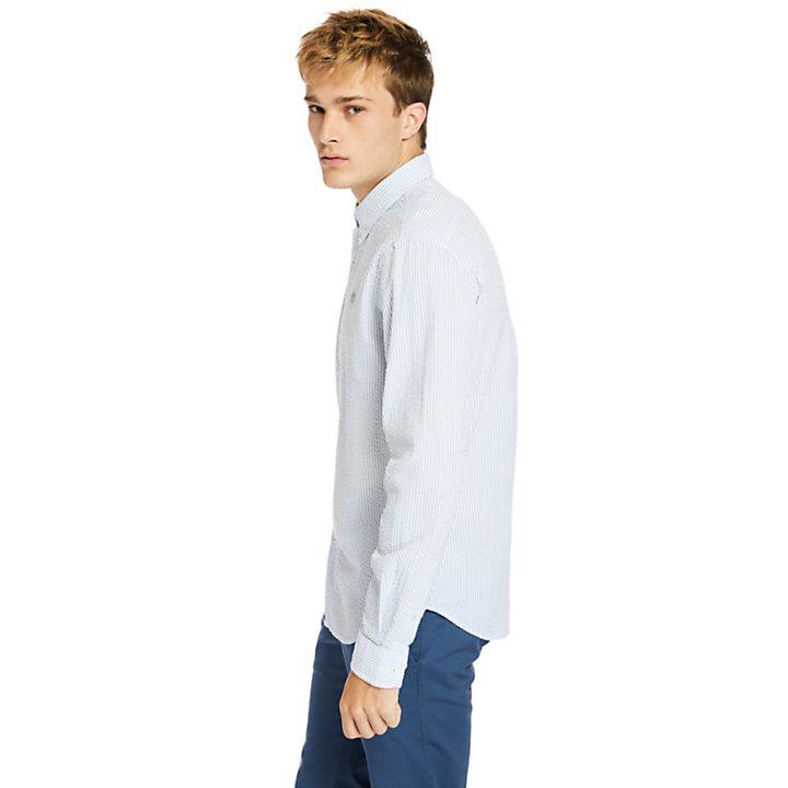 Gestreiftes Seersuckerhemd für Herren in Blau-