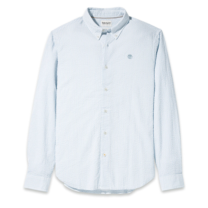Striped Seersucker Shirt for Men in Blue-