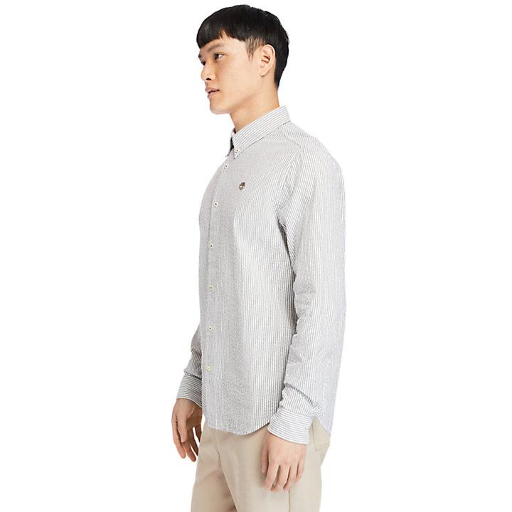 Striped Seersucker Shirt for Men in Green-