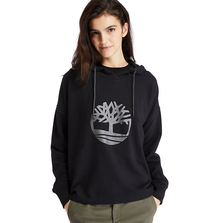 Reflective Logo Hoodie for Women in Black-