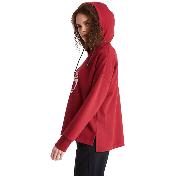 Reflective Logo Hoodie for Women in Red-