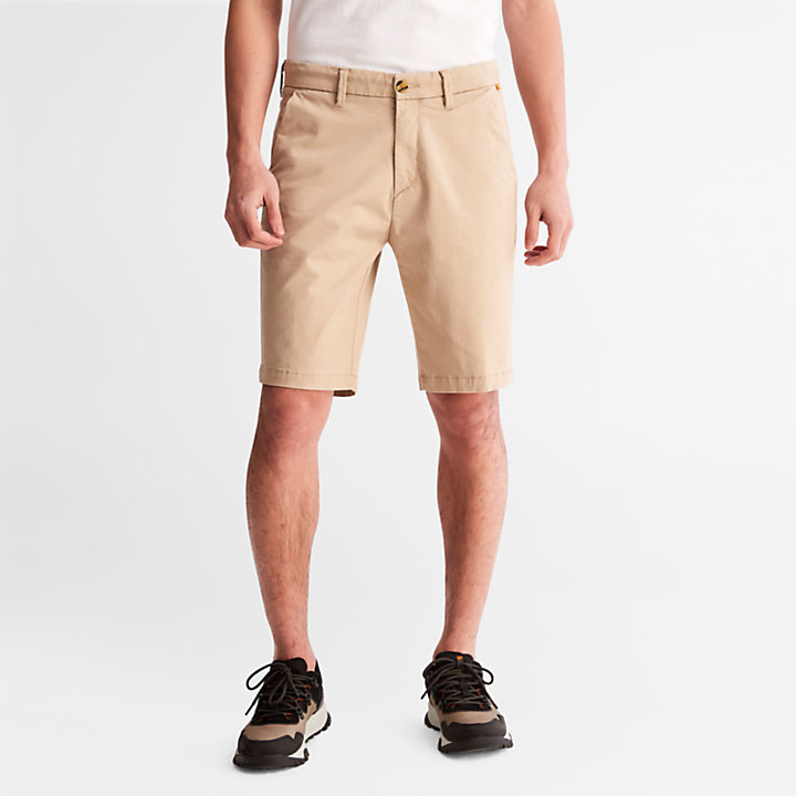 Squam Lake Stretch Chino Shorts for Men in Beige-