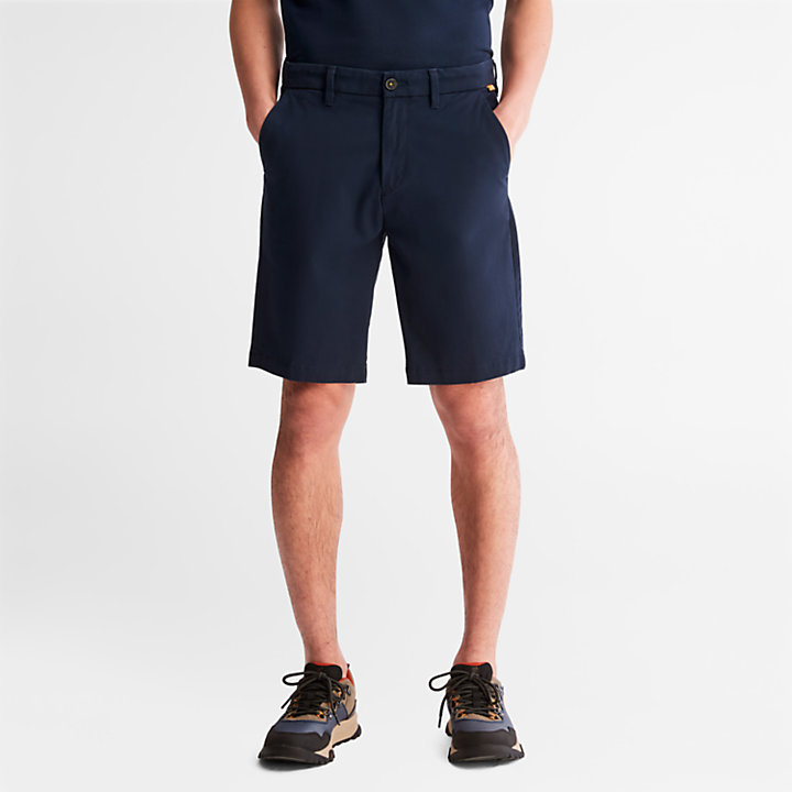 Squam Lake Stretch Chino Shorts for Men in Navy-