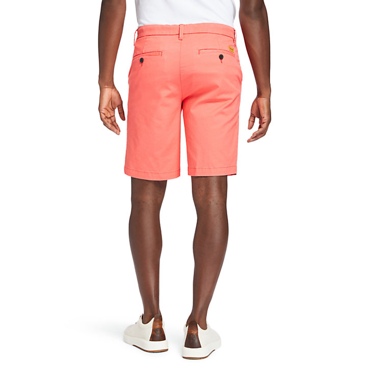 Squam Lake Stretch Chino Shorts for Men in Red-