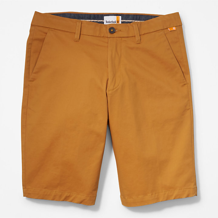 Squam Lake Stretch Chino Shorts for Men in Dark Yellow-