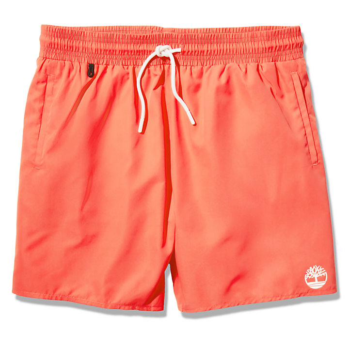 Sunapee Lake Solid-colour Swim Shorts for Men in Red-