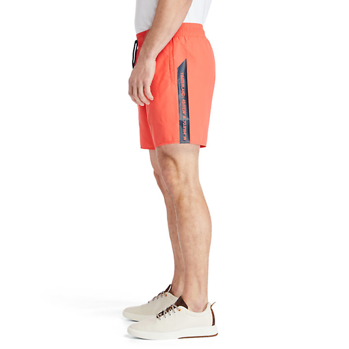 Sunapee Lake Logo Swim Shorts for Men in Coral-