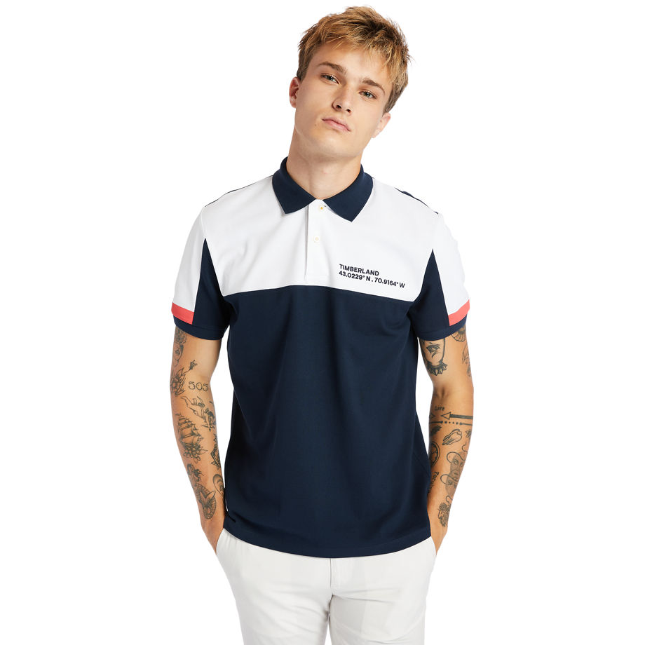 Timberland Millers River Colour-block Polo Shirt For Men In Navy Navy, Size XL