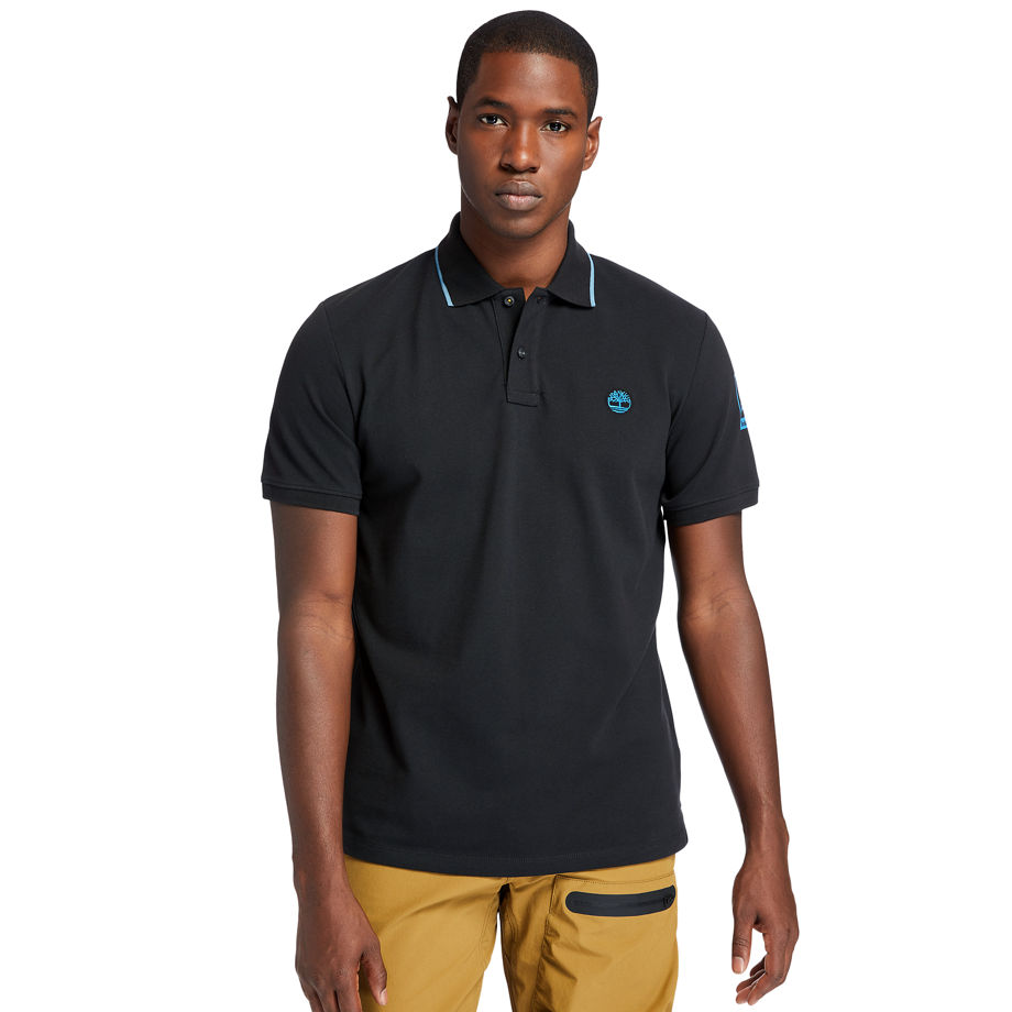Timberland Mountain-to-rivers Polo Shirt For Men In Black Black, Size L