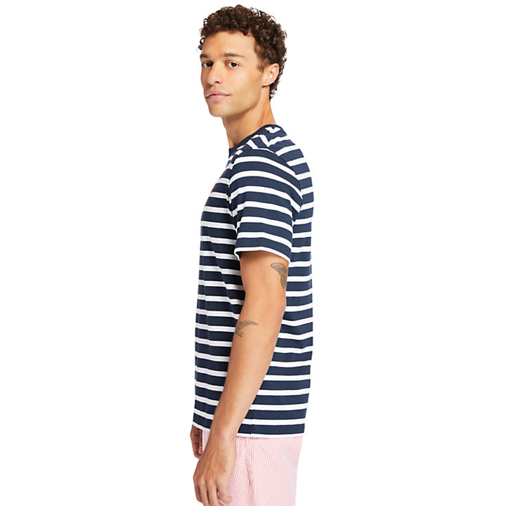 Zealand River Striped T-Shirt for Men in Navy-