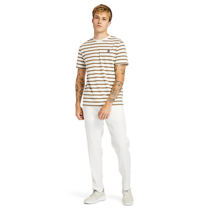 Zealand River Striped T-shirt voor heren in beige-