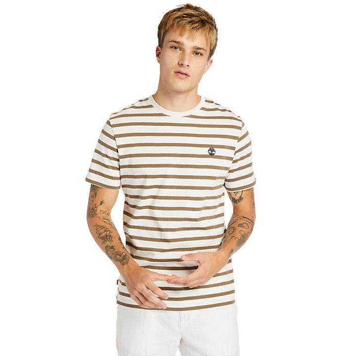 T-shirt à rayures Zealand River pour homme en beige-