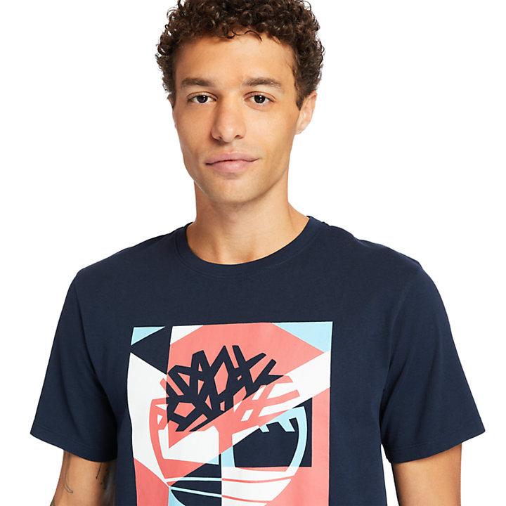 Camiseta con Logotipo Gráfico Coastal Cool para Hombre en azul marino-