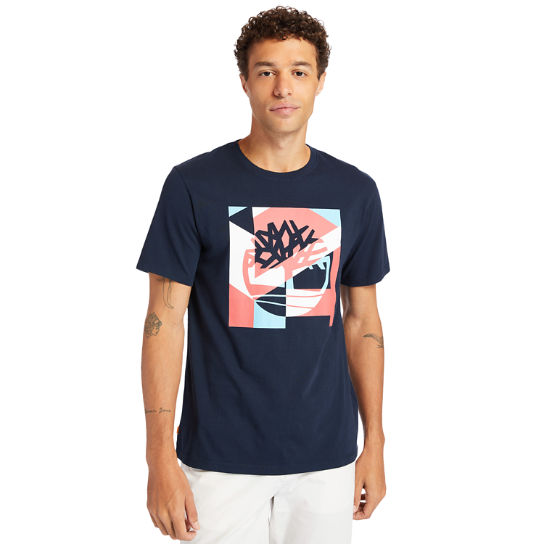 Coastal Cool Graphic Logo T-shirt for Men in Navy | Timberland