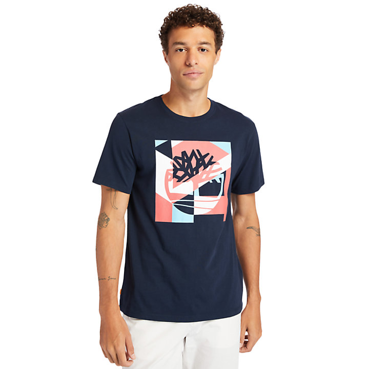 Coastal Cool Graphic Logo T-shirt for Men in Navy-