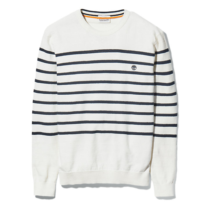 Striped Crewneck Sweater for Men in White-