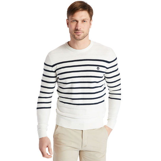 Striped Crewneck Sweater for Men in White | Timberland