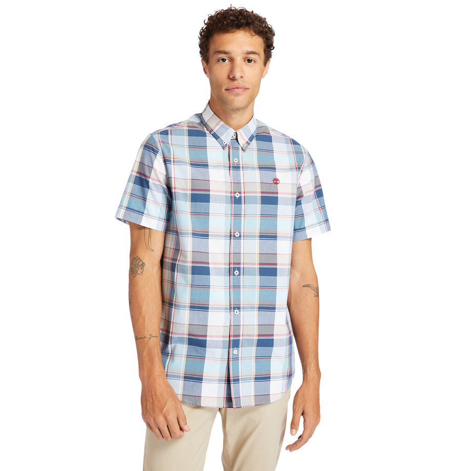 Timberland Madras Poplin Shirt For Men In White White, Size M