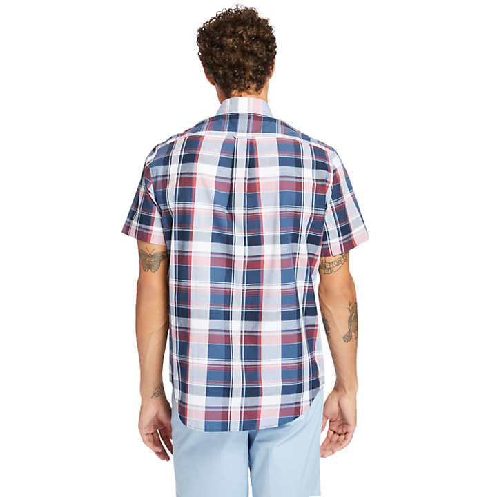 Madras Poplin Shirt for Men in Navy-