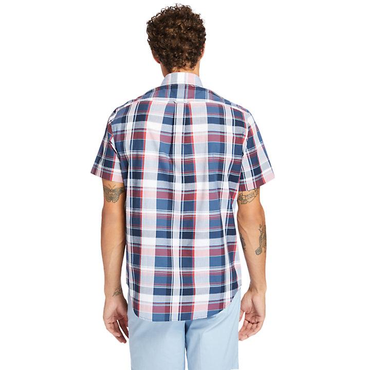 Madras Herrenhemd aus Popeline in Navyblau-