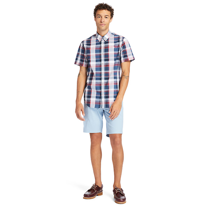 Camicia da Uomo in Popeline Madras in blu marino-