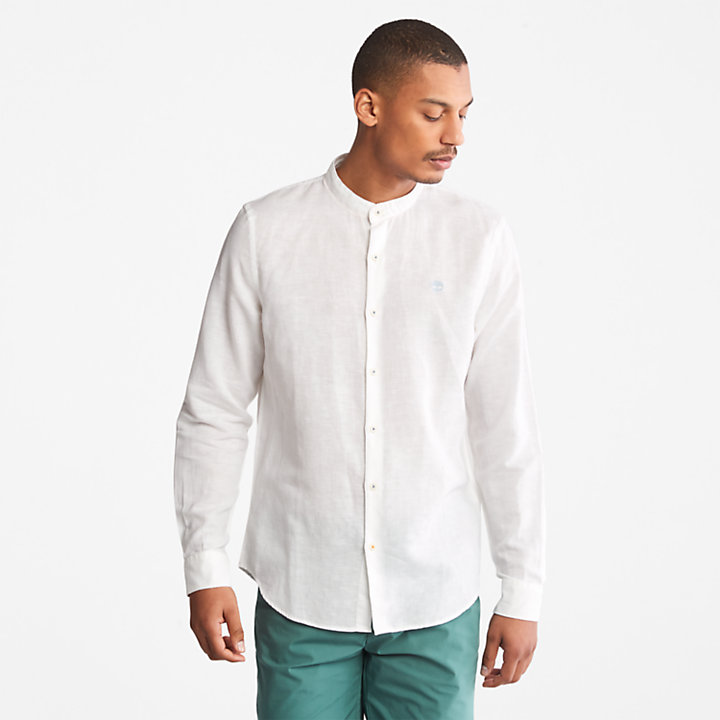 Lovell Korean Collar Shirt for Men in White-