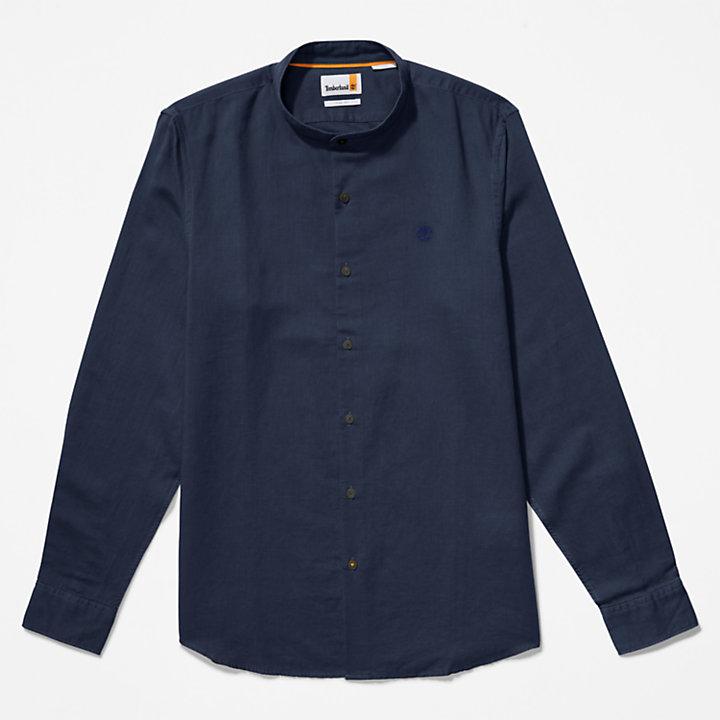 Lovell Hemd mit koreanischem Kragen für Herren in Navyblau-
