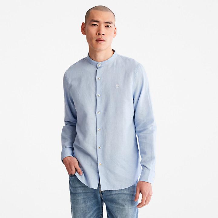 Lovell Korean Collar Shirt for Men in Light Blue-