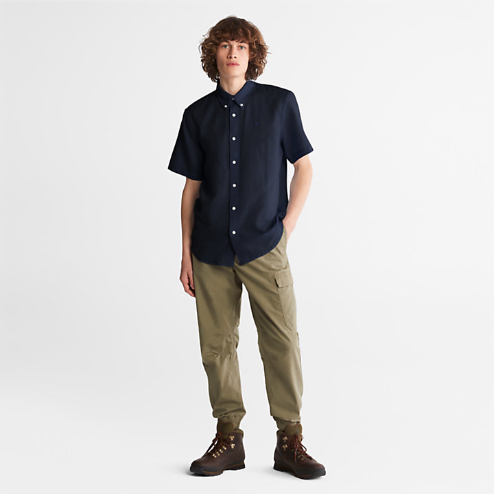 Lovell Linen/Cotton Shirt for Men in Navy-